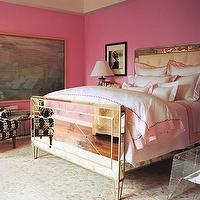 Domino Magazine - bedrooms - mirrored bed, bedding, mirror headboard, mirrored headboard, mirrored headboard, hot pink walls, white and pink bedding, scalloped bedding,