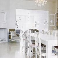 kitchens - corner fireplace, dining room fireplace, dining room corner fireplace, white dining table, farmhouse dining table, mismatched dining chairs, white dining chairs, distressed dining chairs, white dining room,