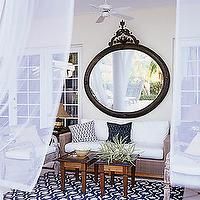 decks/patios - cinderella mirror, outdoor sheers, outdoor sheer curtains,  outdoor living space  Graphic patterned outdoor rug, large round Snow