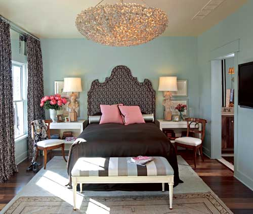 Scott Laslie - bedrooms - striped bench, striped ottoman, turquoise walls, turquoise blue walls, oversized chandelier, large chandelier, pink pillows, desk as nightstands, desk nightstands,
