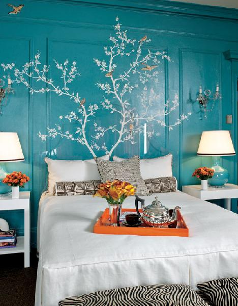 Chinoiserie Stencil - Asian - bedroom - Kendall Wilkinson Design