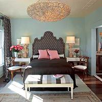 Scott Laslie - bedrooms - chandelier, headboard, lamps, white, gray, black, striped, ottoman, bench, white, desk, nightstands, black, damask, drapes, turquoise, blue, walls, pink, velvet, pillows, striped bench, striped ottoman,