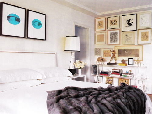 Eyes photo gallery! White headboard and faux fur gray throw! gray blue white