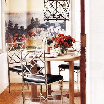 dining rooms - faux bamboo chairs, round dining table, birdcage lantern, silver bamboo chairs, metal bamboo chairs,  Chinoiserie dining room