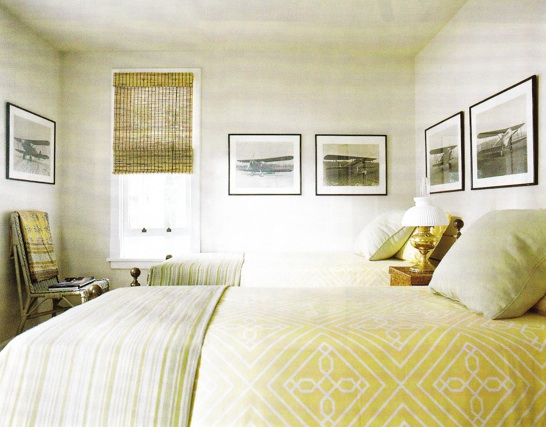 bedrooms - DwellStudio Bedding sepia photo gallery striped throw blanket bamboo roman shades  Love the graphic yellow bedding!    Twin beds with