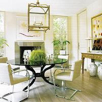 dining rooms - pendant lighting, black, glass, top, round, dining table, ivory, modern, dining chairs, steel, fireplace, antique, wood, console, table, dining room,