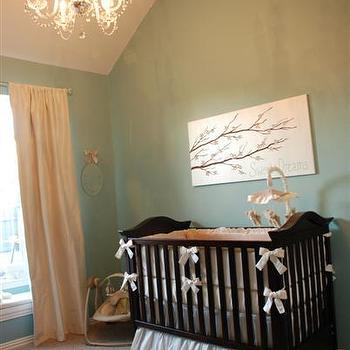 HGTV - nurseries - nursery, nursery paint colors, aqua nursery paint colors, turquoise nursery paint colors, pleated crib skirt, pink curtains, pink silk curtains, vaulted ceiling nursery, nursery vaulted ceiling, whimsical nursery,