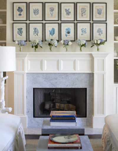 living rooms - fireplace turquoise blue botanical photo gallery white faux branch lamp living room  Blue botanical photo gallery over fireplace!