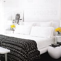 bedrooms - black and white throw, black and white throw blanket, yellow accents, white headboard,  White bedroom with a pop of black and yellow