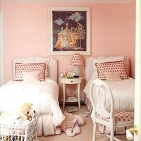 Domino Magazine - girl's rooms - twin beds, pink room, pink girl room, pink girls room, pink girl bedroom, pink girls bedroom, shared girls room, shared girls bedroom, white and pink bedroom,