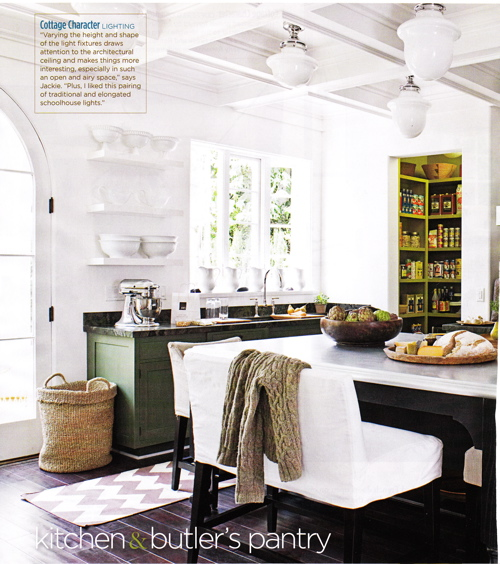 My Home Ideas - kitchens - Schoolhouse Pendant, Long Schoolhouse Pendant, chevron rug, gray chevron rug, white and gray chevron rug, island bench, kitchen island bench, green cabinets, green kitchen cabinets, black kitchen island, black kitchen island with white marble top, schoolhouse pendant,