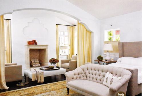 cream tufted sofa transitional bedroom