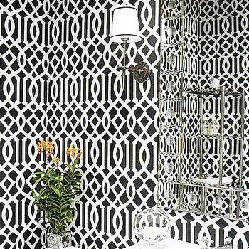 Imperial Trellis Wallpaper, Contemporary, bathroom, Elle Decor