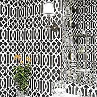 Elle Decor - bathrooms - black, iron, sconce, white, bathroom, cabinets, marble, countertops, imperial trellis wallpaper, kelly wearstler wallpaper, kelly wearstler imperial trellis wallpaper, noir wallpaper, imperial trellis noir wallpaper, kelly wearstler imperial trellis noir wallpaper, kelly wearstler noir wallpaper, charcoal imperial trellis wallpaper, Kelly Werastler Imperial Trellis Wallpaper,