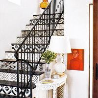 entrances/foyers - console table, lamp, white, black, red, white,  Love the painted stairs   white black red white orange entrance foyer!