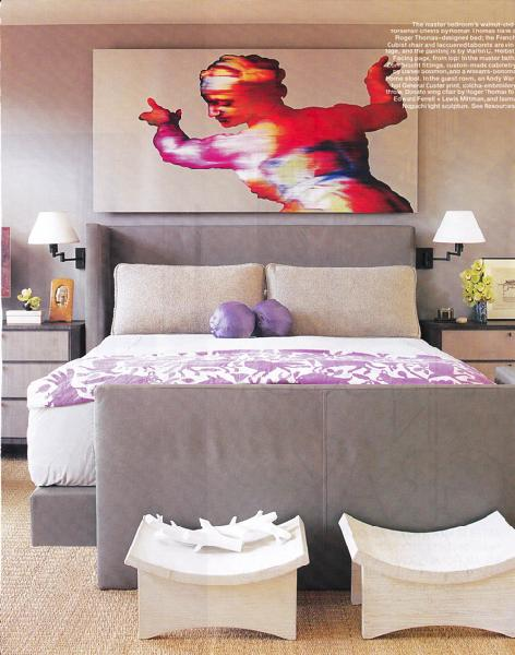 Suzie: Roger Thomas  Whoa! gray &amp; purple bedroom design with gray upholstered headboard bed ...