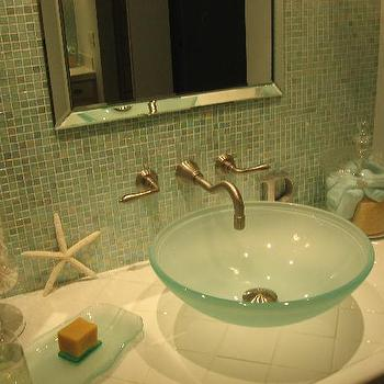 HGTV - bathrooms - Small but Spa-Like bathroom, spa like bathroom, frosted glass sink, frosted glass bowl sink, frosted glass bathroom sink, green glass tiles, green glass tile backspalsh, wall mounted faucet, beveled mirror, spa like bathroom,