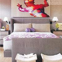 bedrooms - purple blanket, purple and gray bedroom, gray headboard, gray bed,  Roger Thomas  Whoa! gray & purple bedroom design with gray upholstered