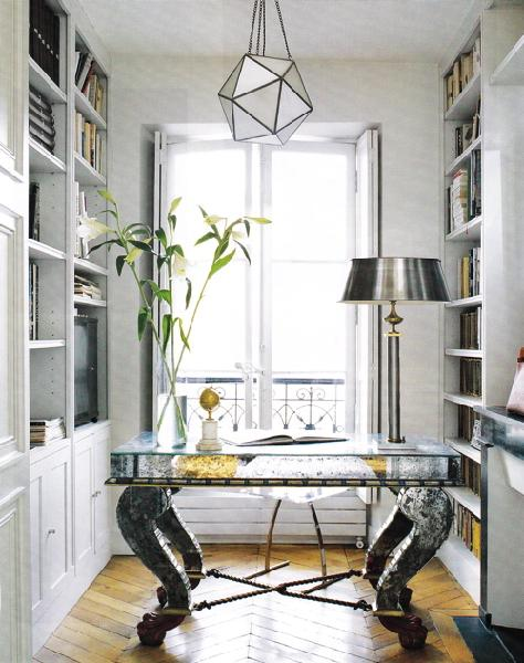 Suzie: dens/libraries/offices - mirrored desk star chandelier pewter lamp built-ins white parquet wood floors office  Cool Pottery Barn lighting!