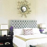bedrooms - blue, tufted, velvet, headboard, black, wood, nightstands, white, bedding, green, frame, trim, purple, pillows, white, lamps, gray walls, faux, branch, round, mirror, velvet tufted headboard, blue velvet headboard, blue velvet headboard, blue tufted headboard, blue velvet tufted headboard,