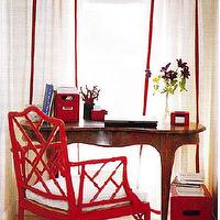 dens/libraries/offices - bamboo chairs, red bamboo chair, red bamboo chair, red faux bamboo chairs, white and red curtains, oval desk,  Can't