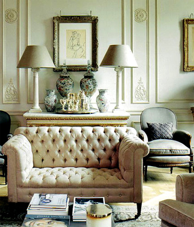 living rooms - tufted, ivory, chesterfield, sofa, alabaster, lamps, console, table, gray, chair,  Great sofa