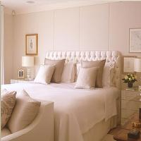 bedrooms - Upholstered, walls, white, tufted, headboard, mirrored, nightstands,  Upholstered bedroom wall  white tufted silk headboard, white