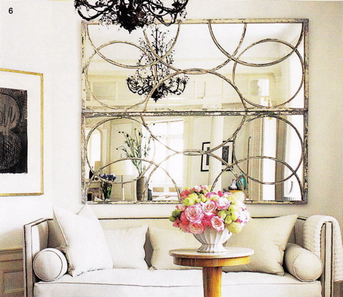 living rooms - Arteriors Iron Nikita Mirror in Silver Leaf, circles mirror, high back sofa, silver circles mirror, nailhead sofa,  Love these