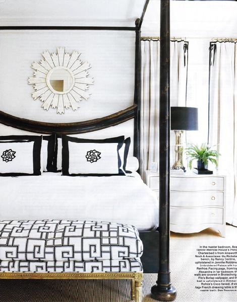 bedrooms - black, white, Greek key, bench, gold, turned legs, black, canopy, bed, white, nightstand, chest, lamp, black, shade, white, bedding, black, ribbon, trim, white, drapes, white, sunburst, mirror, bedroom, canopy bed, black canopy bed,