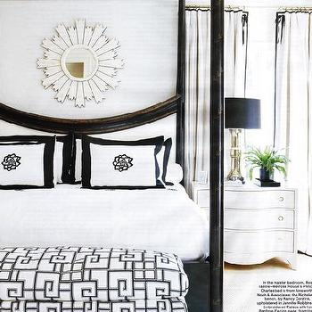 bedrooms - canopy bed, black canopy bed, black and white bedroom, black and white bench, black and white bedding, black and white shams, white sunburst mirror,