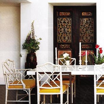 dining rooms - bamboo chairs, white bamboo chair, faux bamboo chair, white faux bamboo chairs, bamboo chair, Macau Chair,  Chinoiserie dining