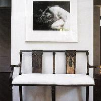 entrances/foyers - Asian, zen, iron, black, bench, wall art,  Chinese Bench  asian, zen bench and white walls.