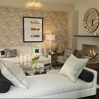 Sarah Richardson Design - living rooms - gray, blue, brown, ivory, settee, sofa, blue, polka dot, lumbar, pillows, sunburst, mirror, gray, wallpaper, modern, fireplace, lamp, glass, top, walnut, noguchi, coffee table, modern, chandelier, wicker, chairs, gray walls, paint color, living room, Bellesol Mirror, Noguchi Table,