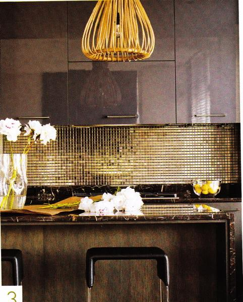 kitchens - glossy, brown, lacquer, kitchen, cabinets, green, gold, glass tiles, black, stools, ,  Crazy modern kitchen!  Gold yellow glass tile