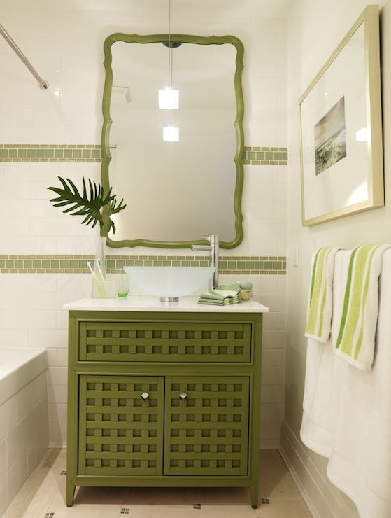 bathrooms - Pier 1 Cabinet green vanity cabinet white green bathroom mosaic tiles green mirror bathroom  Sarah Richardson!    Green cabinet bathroom