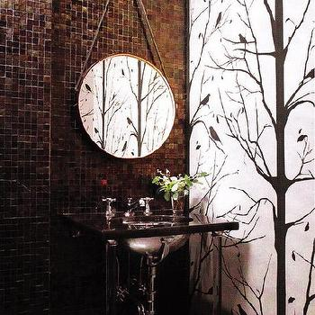 Powder Room Wallpaper, Transitional, bathroom