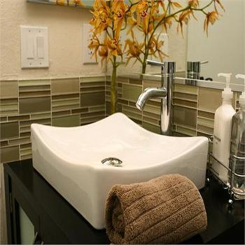 HGTV - bathrooms - green glass tiles, green glass tile backspalsh, green glass tile backspalsh, vessel sink,  Overmount sink with glass tile