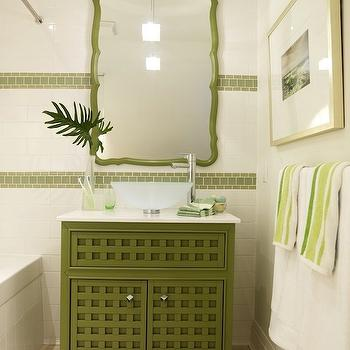 Sarah Richardson Design - bathrooms - green vanity, green bathroom vanity, green cabinets, green bathroom cabinets, green washstand, white and green bathroom, strip tiles, green strip tiles, green mirror, Pier 1 Cabinet,