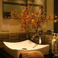 Green Glass Tiles Contemporary Bathroom