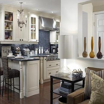 kitchens - cream cabinets, cream kitchen cabinets, cream shaker cabinets, cream shaker kitchen cabinets, blue tiles, blue tile backsplash, blue kitchen backsplash, seagrass bar stools,