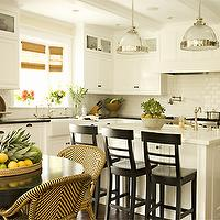 kitchens - clemson pendants, kitchen pendants, kitchen island pendants, white cabinets, white kitchen cabinets black countertops, black bar stools, farmhouse sink, french bistro chairs, , Clemson Pendant,