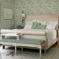 bedrooms - french nightstands, teal bench, french bench, sleigh bed, upholstered sleigh bed,  seafoam green  blue & green french country bedroom