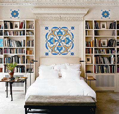 built in bookcase eclectic bedroom