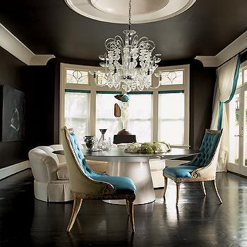 Jill VanTosh - dining rooms: dining chairs, tufted dining chair, velvet dining chairs, velvet tufted dining chair, turquoise dining chair, turquoise tufted dining chair, black walls, black ceiling, turquoise and black dining room,