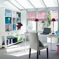 dens/libraries/offices - desk, chair, roman shades, bookshelf,  Crisp, white office