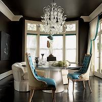 Jill VanTosh - dining rooms - black, turquoise, blue, tufted, dining chairs, white, modern, round, dining table, crystal, chandelier, black, wood, floors, black walls, paint color, white silk, drapes, blue ribbon border, trim, dining chairs, tufted dining chair, velvet dining chairs, velvet tufted dining chair, turquoise dining chair, turquoise tufted dining chair,
