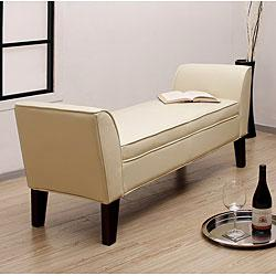Seating - Drake Creme Leather Bench from Overstock.com - leather bench