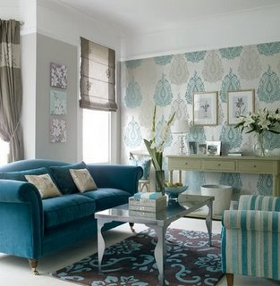 Eclectic Home Decor on Living Rooms   Villa Nova Kamini Tiku Wallpaper  Turquoise  Blue
