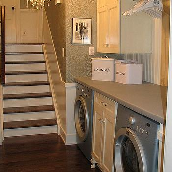 laundry/mud rooms - damask wallpaper, vintage canisters, chandelier, laundry room chandelier, laundry room, laundry room wallpaper, chic laundry room, laundry room ideas,