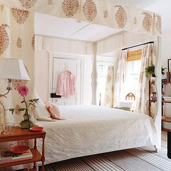 bedrooms - bed canopy, light pink walls, light pink paint,  Pretty in Pink